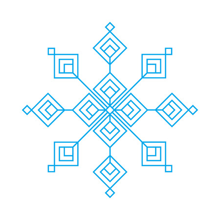 blue snowflake vector sign isolated on white background