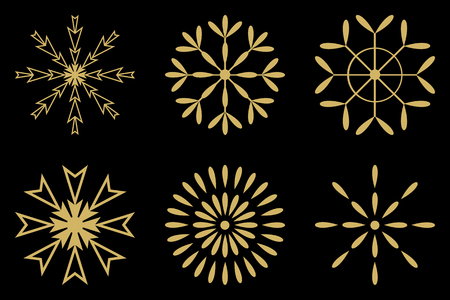 gold snowflakes: gold snowflakes set vector sign isolated on black background