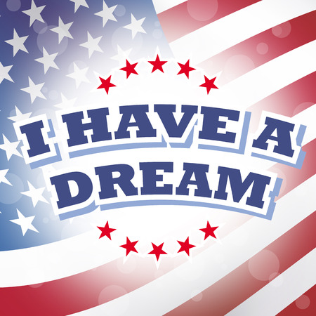 jr: america i have a dream banner american flag background Stock Photo