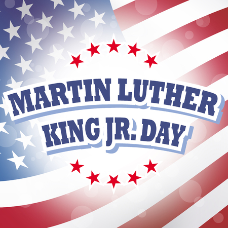 jr: america martin luther king jr day banner american flag background Stock Photo