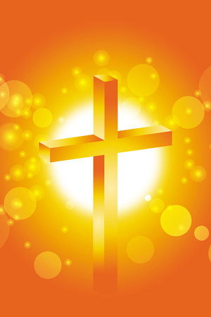 easter cross in front of abstract orange sunset background Vektorové ilustrace