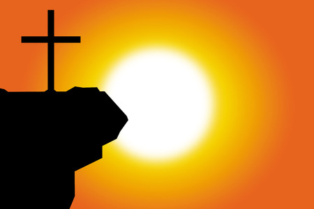 religious backgrounds: Silhouette of the cross at sunset, Christian background Illustration