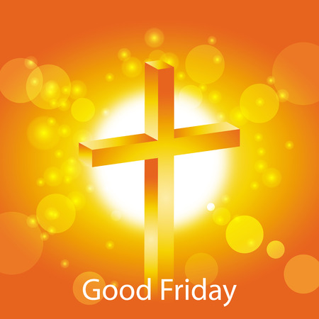 good friday: Orange cross on warm sun and lens flare background with text Good Friday banner