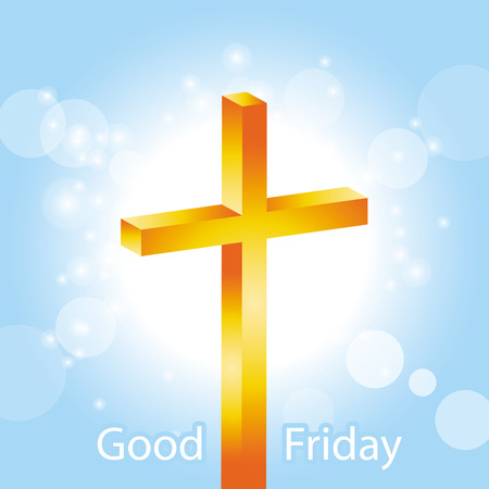 religious symbol: Orange cross on blue sky and lens flare background with text Good Friday banner