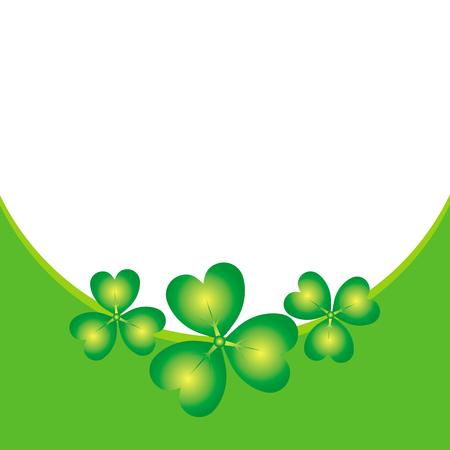Green shamrock on green and white border background irish vector illustration, Design for St. Patrick's Day