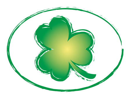 irish symbols: Green Shamrock Grunge Stamp Style Symbols Icon Irish Vector illustration. Design for St. Patricks Day Illustration