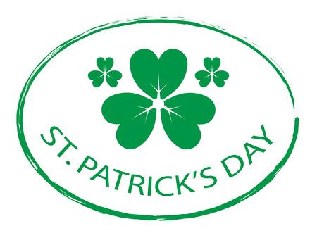 st: Green Clover leaf element stamp for St. Patricks Day