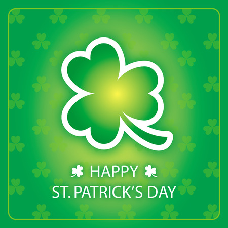 Green shamrock on green border background with text Happy St. Patricks Day greeting card
