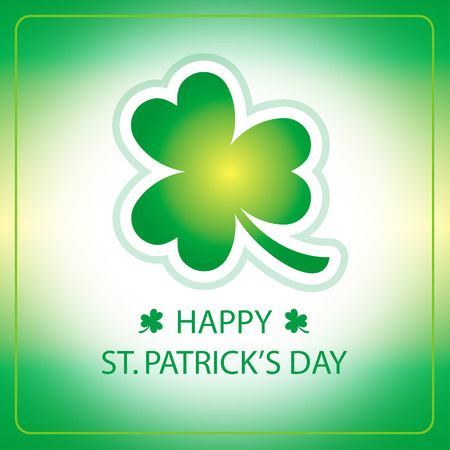 Happy St. Patricks Day greeting card with green shamrock Ilustração
