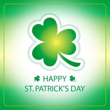 st  patricks: Happy St. Patricks Day greeting card with green shamrock Illustration