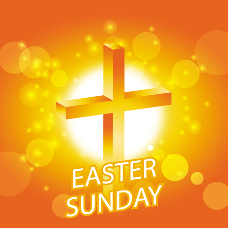 easter cross: easter sunday banner with cross on abstract sun background