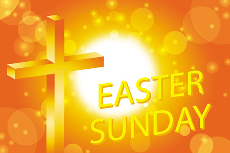 easter cross: easter sunday card with cross on abstract sun background Illustration