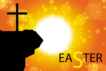 the christian religion: easter sunday card with silhouette of cross on abstract sun background