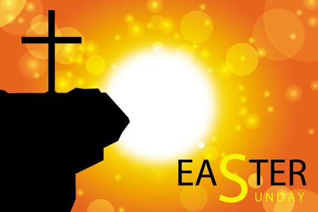 pascuas navide�as: tarjeta de Pascua Domingo con la silueta de la cruz en el fondo abstracto del sol