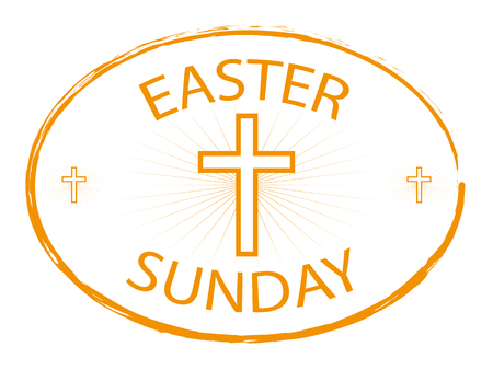 easter sunday stamp with cross isolated on white background