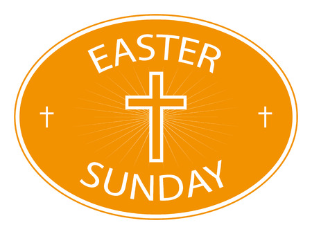 easter cross: easter sunday banner with cross on border Illustration