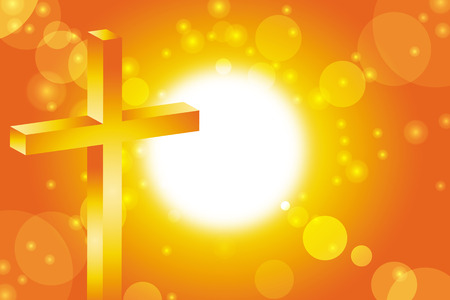 bible light: easter cross in front of abstract orange sunset background