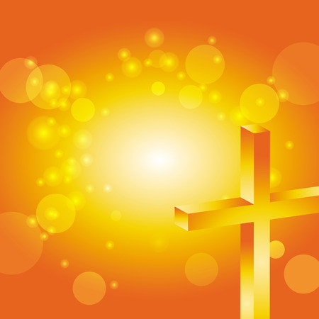 easter cross: easter cross in front of abstract orange sunset background