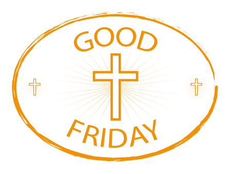 weekday: Good Friday gold stamp with cross isolated on white background