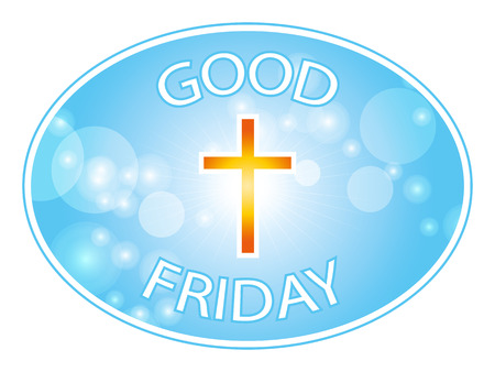 good friday: Orange cross on blue sky and lens flare border background with text Good Friday banner Illustration