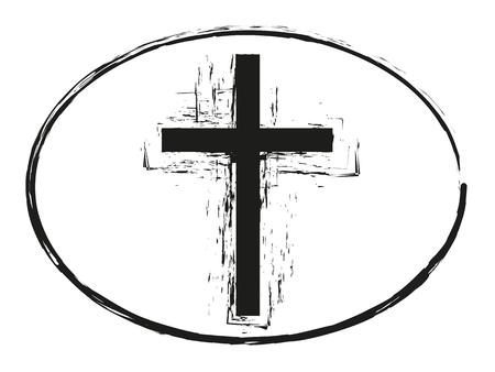 grunge cross: Black grunge cross stamp, Christian cross sign isolated on white background Illustration