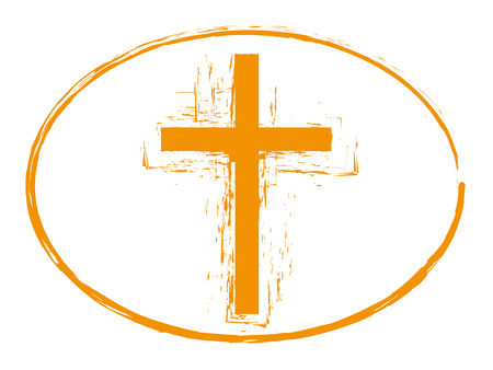Orange grunge cross stamp, Christian cross sign isolated on white background