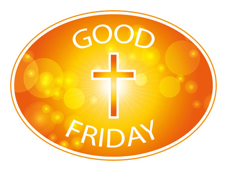 good friday: Orange cross on warm sun and lens flare border background with text Good Friday banner