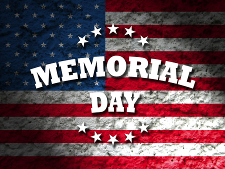 memorial: us memorial day card with american flag grunge style background Stock Photo