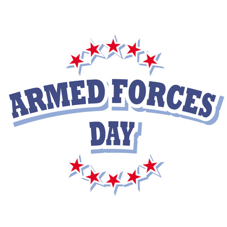 armed: armed forces day logo isolated on white background Illustration