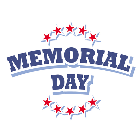 memorial day: us memorial day logo isolated on white background