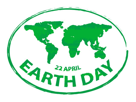 Earth Day Green Grunge Map Stamp Style Symbol Isolated On White