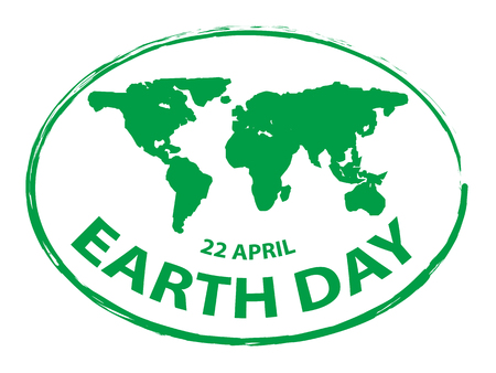 simbolo di stile del bollo della mappa del grunge di giorno della terra verde isolato su fondo bianco 2
