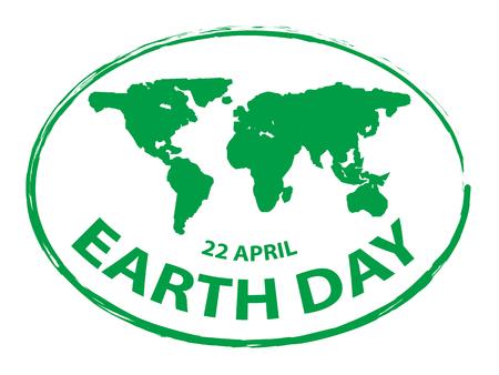 Ziemia zielony dzień grunge mapę pieczęć styl symbol na białym tle 2