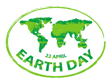 earth logo: earth day green grunge map stamp style symbol isolated on white background 4 Illustration