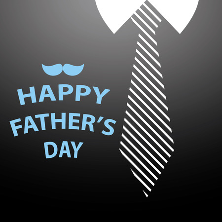 black shirt: happy fathers day card on tie and black shirt background Illustration