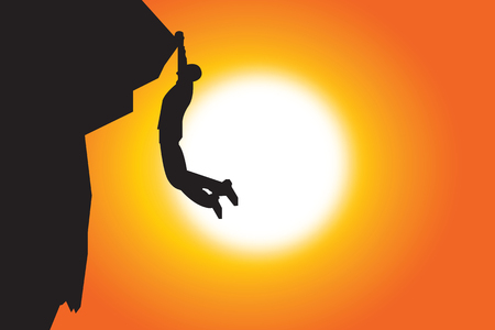 climbing: silhouette of man climbing in sunset background