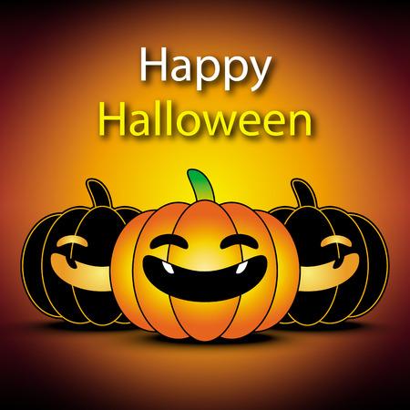 Happy halloween banner with pumpkin orange background