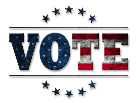 electing: Vote design for Presidential Election USA, Vote sign with american flag grunge style isolated on white background