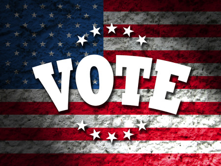 electing: Vote design for Presidential Election USA, Vote sign with american flag grunge style background Stock Photo