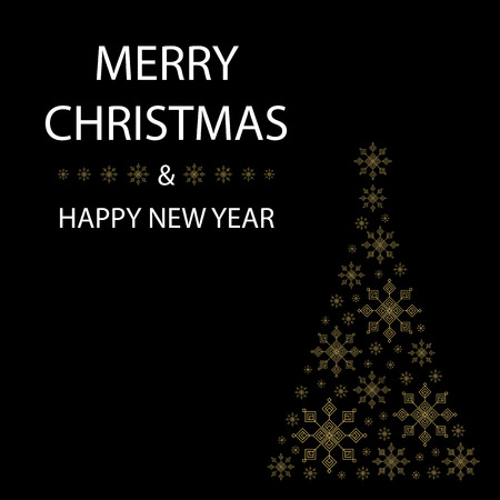 gold snowflakes: Christmas tree shaped from gold snowflakes on black background with white text graphics Merry Christmas and Happy New Year Illustration
