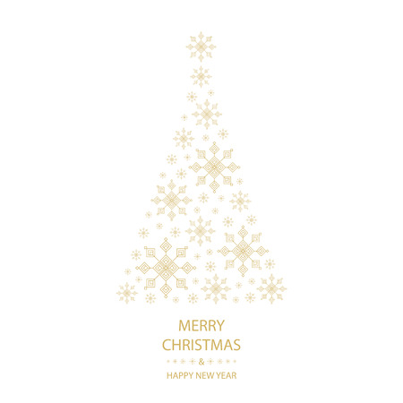 text year: Christmas tree shaped from gold snowflakes on white background with gold text graphics Merry Christmas and Happy New Year