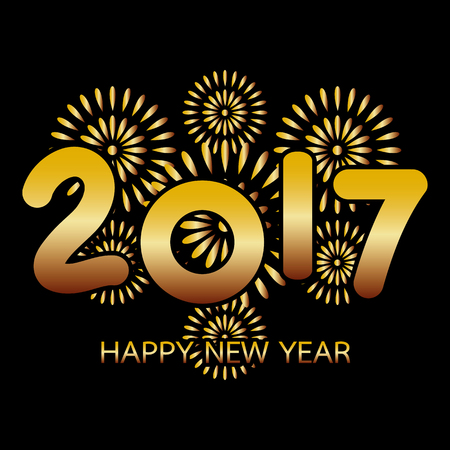 new year greeting: 2017 Happy New Year greeting card with fireworks gold celebration on black background