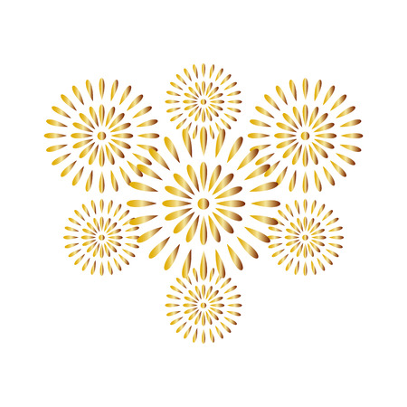 Fireworks gold isolated on white background, beautiful design for New Year, anniversary celebration and festival