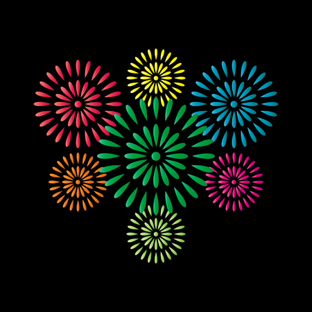 Fireworks colorful isolated on black background, beautiful design for New Year, anniversary celebration and festival Ilustração