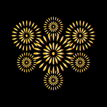 Fireworks gold on black background, beautiful design for New Year, anniversary celebration and festival Ilustração