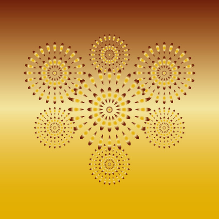 Fireworks gold on gold background, beautiful design for New Year, anniversary celebration and festival