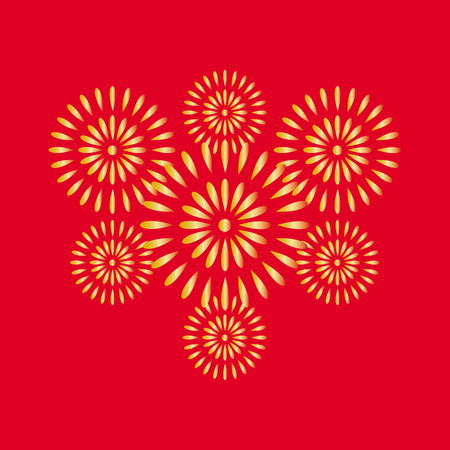 Fireworks gold on red background, beautiful design for New Year, anniversary celebration and festival