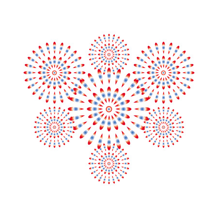 Fireworks red and blue on white background, beautiful design for New Year, anniversary celebration and festival