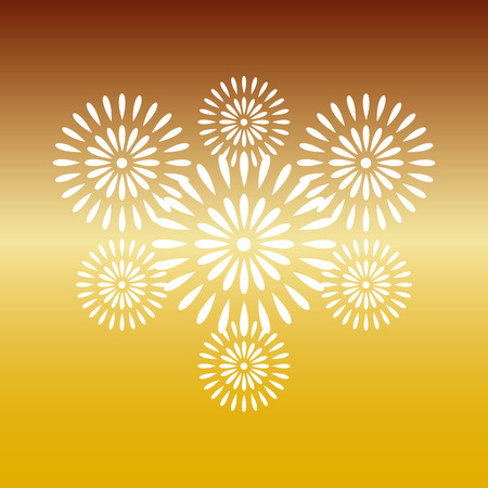 Fireworks white on gold background, beautiful design for New Year, anniversary celebration and festival Ilustração