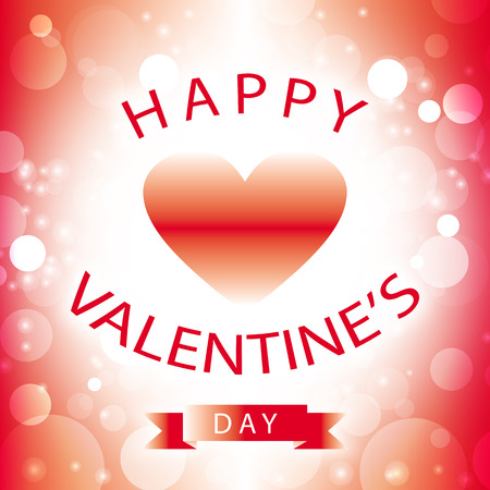 Happy Valentines Day greeting card with white hearts on red and white frame border background bubbles